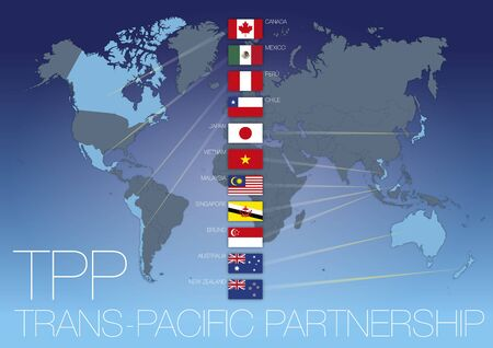Trans-Pacific Partnership agreement map with national flags, TPPA, vector illustration