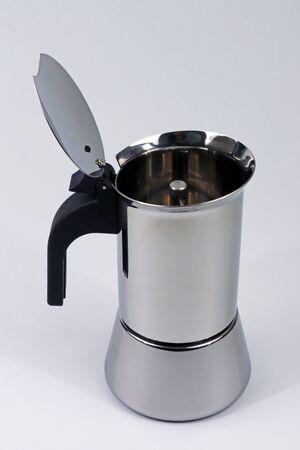 Moka coffee maker for home coffee preparation, typical Italian cuisine