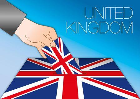 United Kingdom elections, ballot box with uk flag and symbols, vector illustration