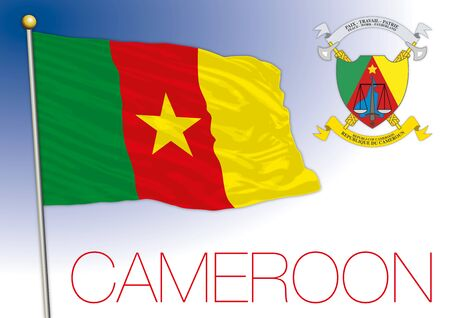 Cameroon national flag and coat of arms, african country, vector illustration