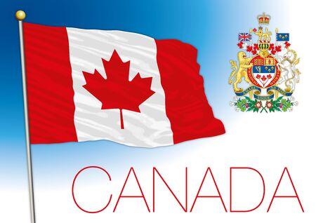 Drapeau national officiel du Canada et armoiries, Amérique du Nord, illustration vectorielle