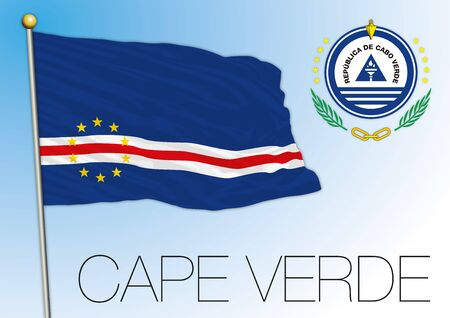Cape Verde official national flag, african country, vector illustration 일러스트