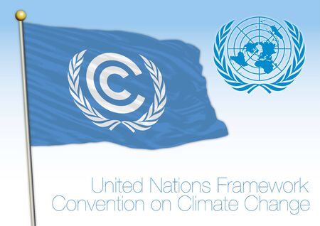 United Nations Climate Change Conference and organization flag, vector illustration