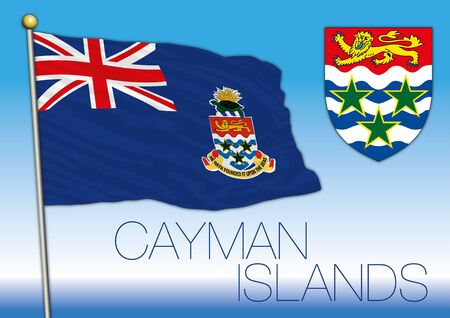 Cayman islands national flag and coat of arms, caribbean, vector illustration Stock Illustratie