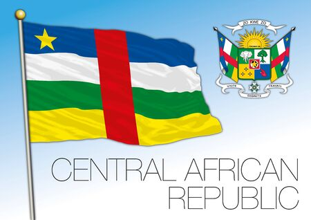 Central African Republic flag and coat of arms, african country, vector illustration 일러스트