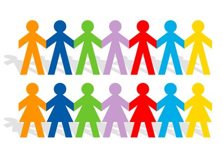 Cutted colored paper people holding hands for teamwork concept, vector illustration