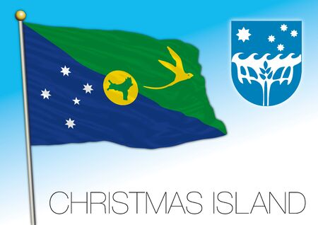 Territory of Christmas Island, Australian external territory flag and coat of arms, vector illustration Stock Illustratie
