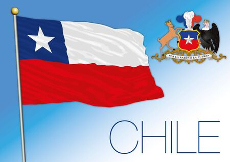 Chile national officla flag and coat of arms, vector illustration, south america