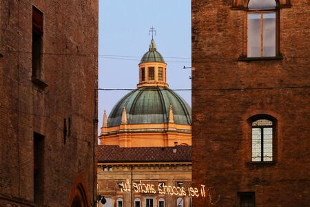 Bologna - Italy, December 2019, touristic city landscape, church dome in the old city Stockfoto