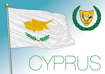 Cyprus official flag and coat of arms, vector illustration, European Union