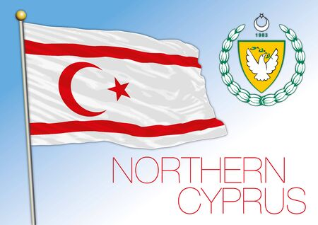 Northern Cyprus official national flag and coat of arms, vector illustration