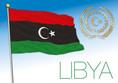 Libya official flag and coat of arms, african country, vector illustration