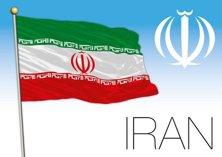Iran official national flag and coat of arms, asiatic country, vector illustration Stock Illustratie