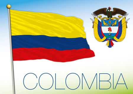 Colombia official national flag and coat of arms, vector illustration