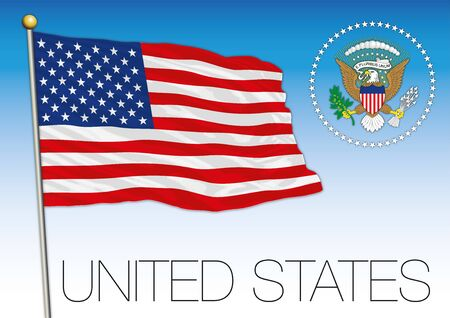 United States of America official national flag and coat of arms, USA, vector illustration Illustration