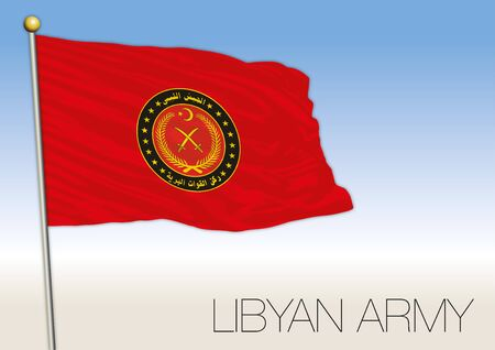 Libyan army flag, african country, vector illustration