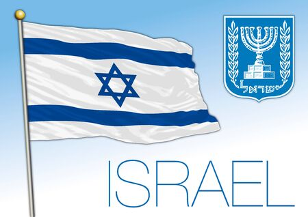 Israel official national flag and coat of arms, vector illustration, middle east