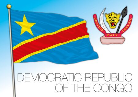 Congo Democratic Republic official national flag and coat of arms, vector illustration, african country