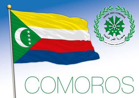 Comoros islands community official flag and coat of arms, vector illustration Stock Illustratie