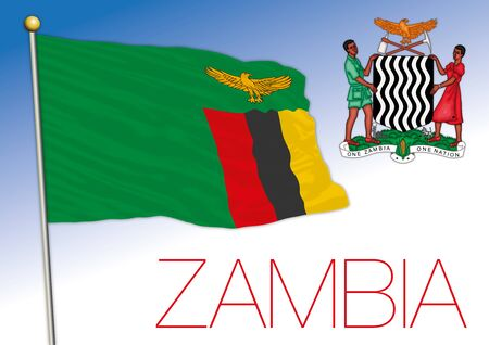 Zambia official national flag and coat of arms, african country, vector illustration