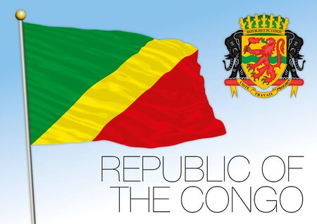 Republic of Congo official national flag and coat of arms, african country, vector illustration
