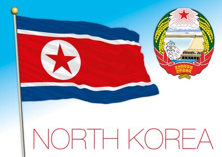 North Korea official flag and coat of arms, asiatic country, vector illustration Stock Illustratie