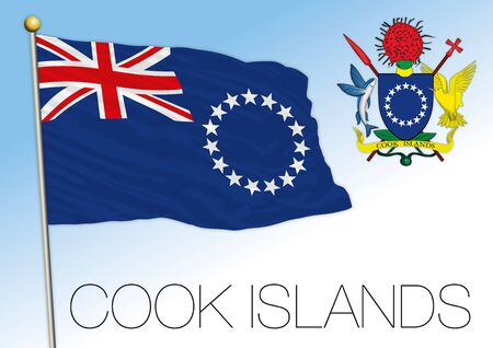 Cook Islands official national flag and coat of arms, pacific ocean, vector illustration