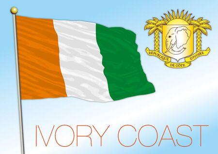 Ivory Coast official national flag and coat of arms, african country, vector illustration