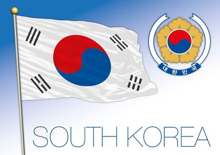 South Korea official national flag and coat of arms, asiatic country, vector illustration