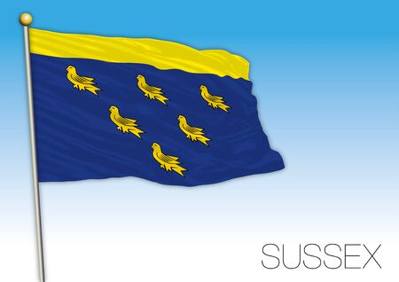 Sussex county official flag, United Kingdom, vector illustration