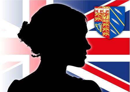 Meghan Markle, Duchess of Sussex, silhouette portrait on the UK flag, vector illustration