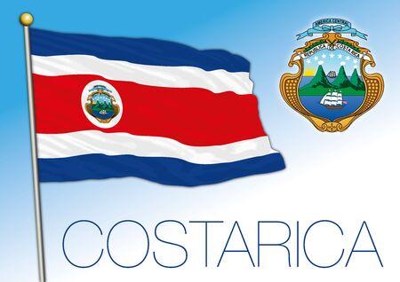 Bandiera nazionale ufficiale e stemma della Costa Rica. paese dell'america centrale, illustrazione vettoriale