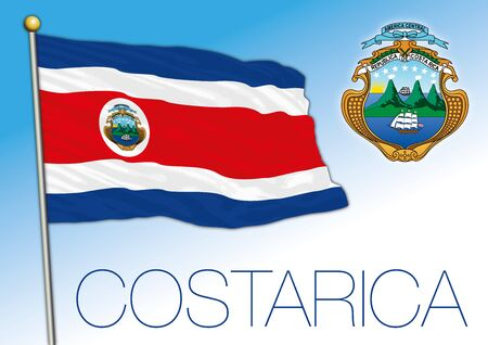 Costa Rica official national flag and coat of arms. central america country, vector illustration