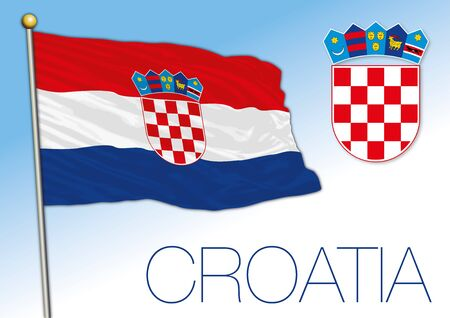 Croatia official national flag and coat of arms, European Union, vector illustration