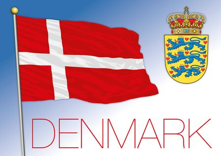 Denmark official national flag and coat of arms, European Union, vector illustration Ilustrace