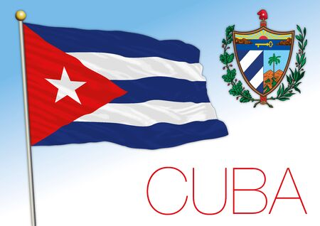 Cuba official national flag and coat of arms, american country, vector illustration