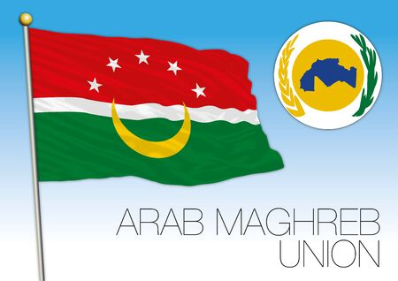 Arab Maghreb Union official flag and coat of arms, north africa, vector illustration