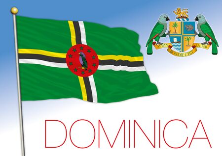 Dominica official national flag and coat of arms, vector illustration