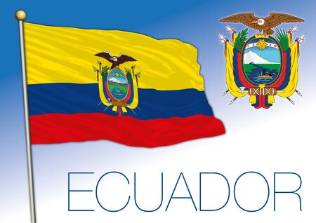 Ecuador official national flag and coat of asrms, south american country, vector illustration