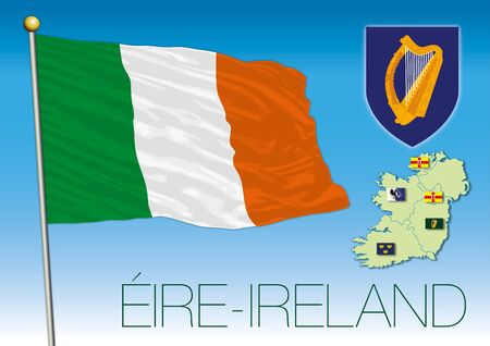Eire Ireland official flag and coat of arms, European Union, vector illustration