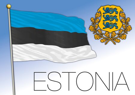 Estonia official national flag and coat of arms, European Union, vector illustration