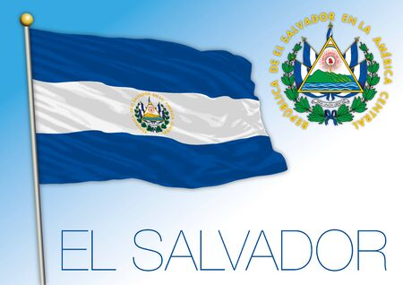 El Salvador official national flag and coat of arms, central american country, vector illiustration Zdjęcie Seryjne - 138541290