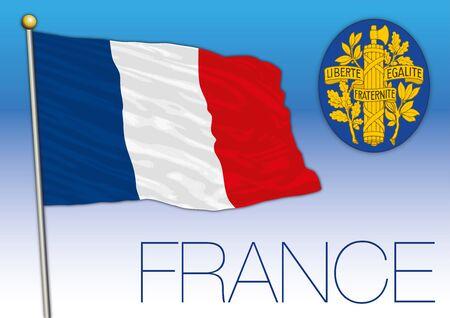 France official national flag and coat of arms, European Union, vector illustration Ilustração Vetorial