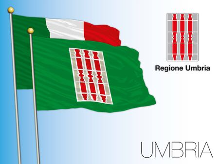Umbria official regional flag and coat of arms, Italy, vector illustration Ilustrace