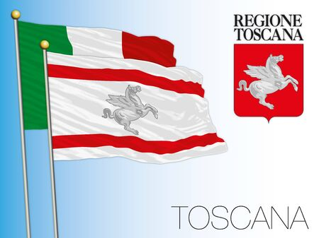 Tuscany official regional flag and coat of arms, Italy, vector illustration Çizim