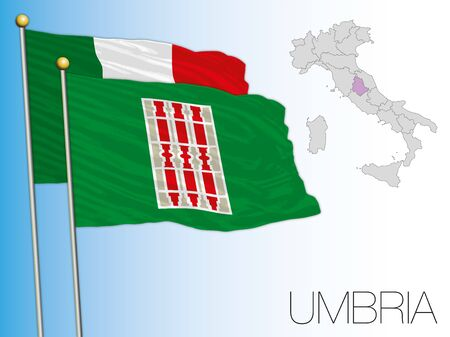 Umbria official regional flag and map, Italy, vector illustration Ilustrace