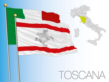 Tuscany official regional flag and map, Italy, vector illustration Çizim