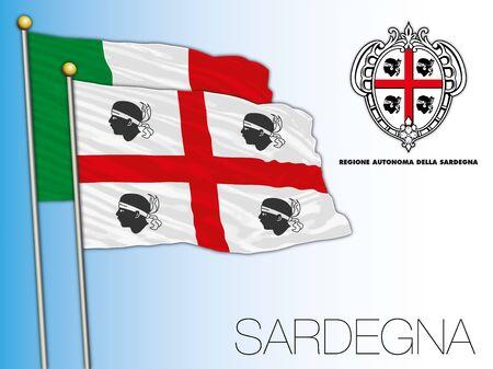 Sardinia or Sardegna official regional flag and coat of arms, Italy, vector illustration Stockfoto