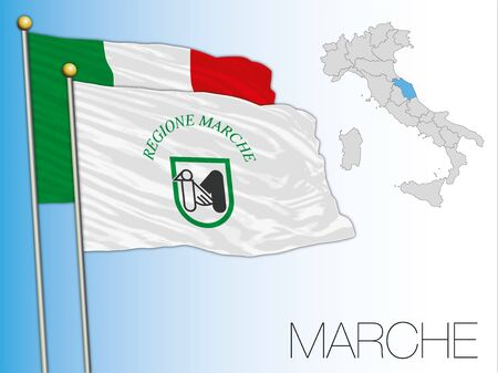 Marche official regional flag and map, Italy, vector illustration Standard-Bild