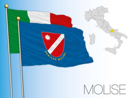 Molise official regional flag and map, Italy